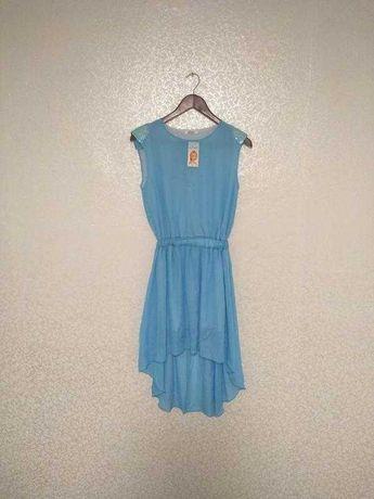 шифоновое платье, голубое платье, летнее платье, шифон, паетки