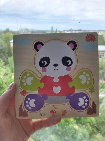 Деревянный пазл мишка панда 6 деталей