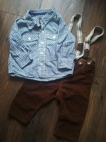 Komplet h&m koszula i spodnie z szelkami sztruksowe brązowe