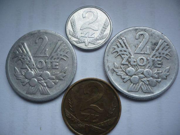 Zestaw 2 zł monet PRL - 2x jagody + Al 1989r + mosiądz z lat 80-tych