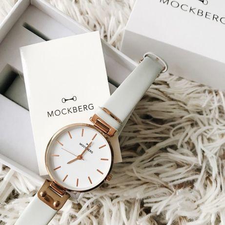 Jasnoszary zegarek Mockberg różowe akcenty