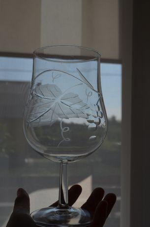kielich szkło kryształ winogron na nóżce duży