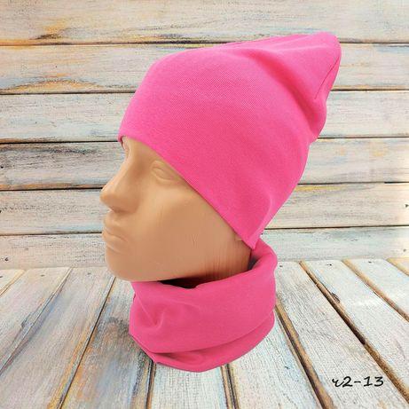 Демисезонная розовая шапочка бини и хомут снуд, детская шапка