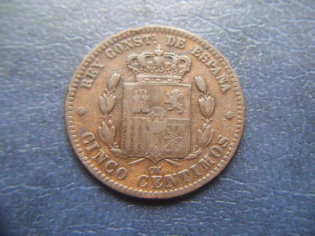 Stare monety 5 centymow 1877 Hiszpania