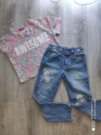 Dżinsy/ jeansy spodnie Gap 8 lat/128, bluzeczka YD 8-9