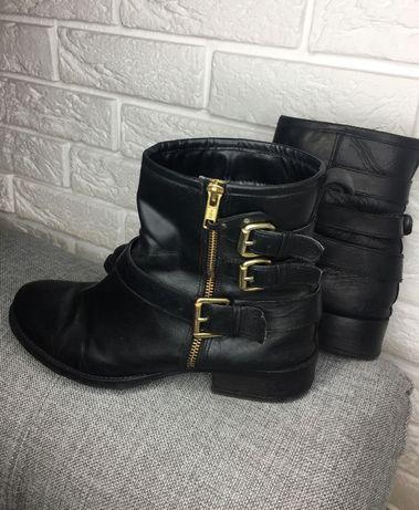 Skórzane botki buty sztyblety workery złote klamry r40