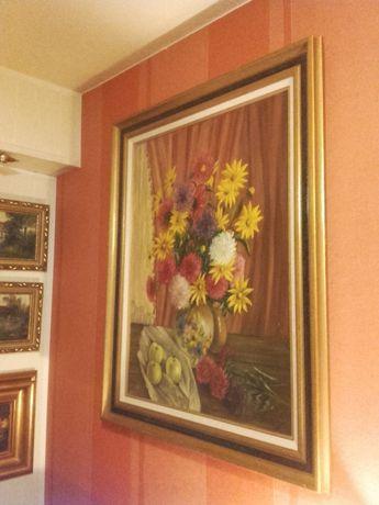 "Gabinetowy stary obraz olejny""Martwa natura"" A.Moens"""