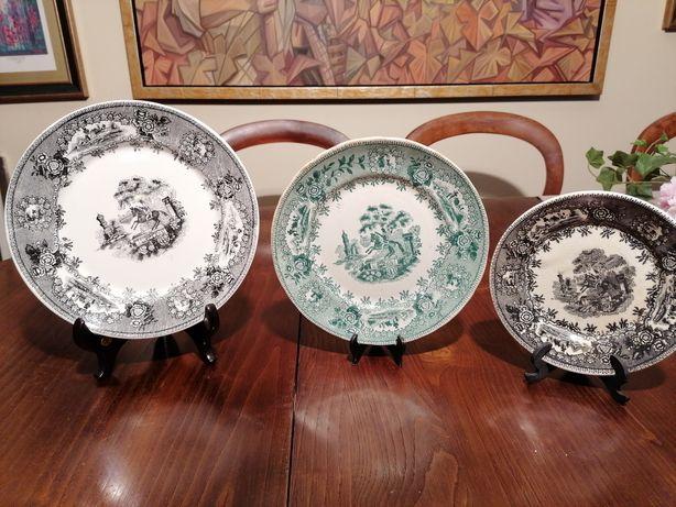 Três pratos porcelana Sacavem estátua