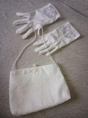 Piękne Rękawiczki+ torebka komunijne