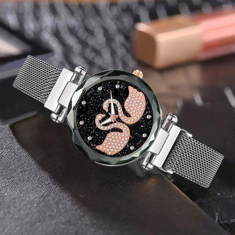 Nowy zegarek damski pasek magnetyczny na magnes srebrny z łabędziami