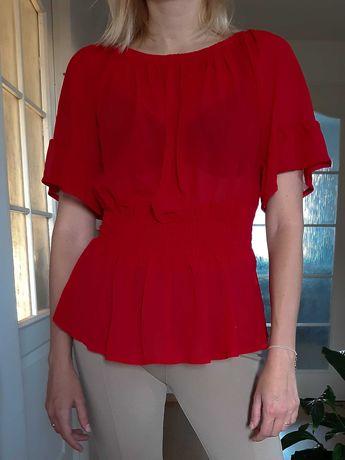 Czerwona bluzka na lato wiązana z tyłu bluzka lata 90