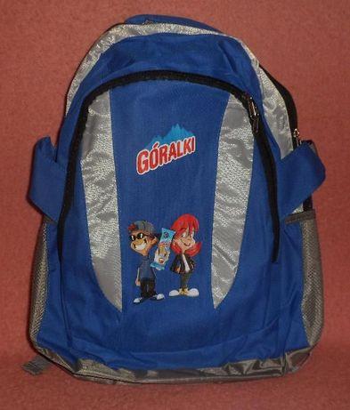 Plecak z logo Góralki w ciemno-niebieskim kolorze z szarymi dodatkami