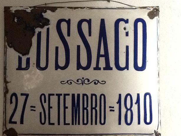 "Placa de esmalte ""Batalha do Bussaco"" tipo reclame"