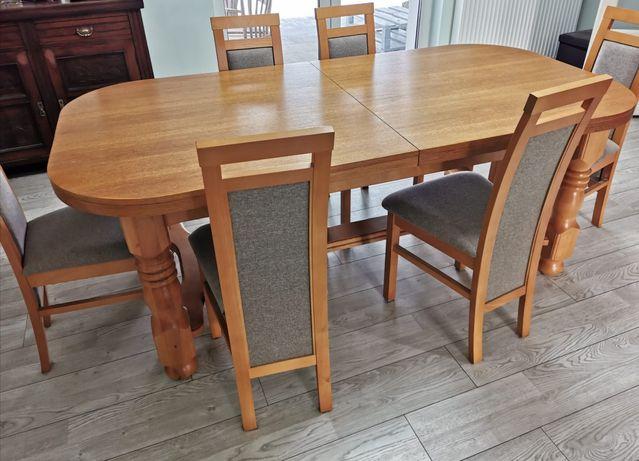Stół dębowy, drewniany, rozkładny + krzesła