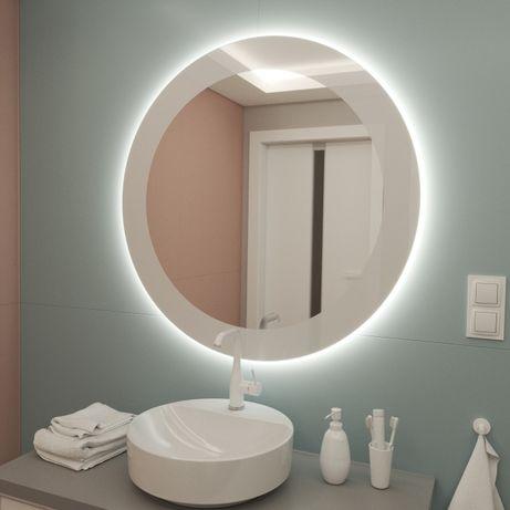 Okrągłe Lustro LED 50 cm z drukowaną białą ramką