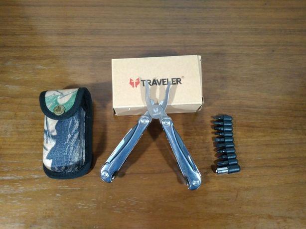Мультитул Traveler, биты и чехол. Складной многофункцианальный нож.