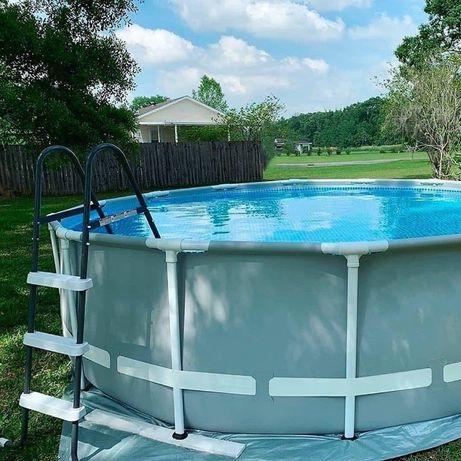 Каркасный круглый бассейн «Intex» с лестницей и насосом, объем 6500 л