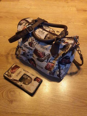 Torebka kuferek i portfel