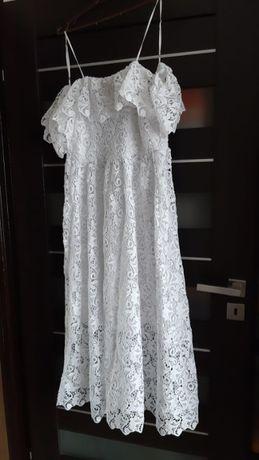 Biała koronkowa sukienka hiszpanka przed kostki midi boho H&M