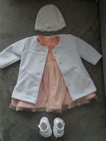 komplet/sukienka do chrztu dla dziewczynki