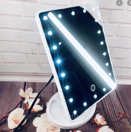 Зеркало с подсветкой led розовое, черное, белое для девочки на подарок