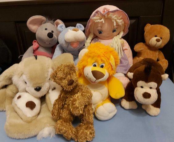 Мягкие игрушки, кукла, медведь,обезьяна,собака, мышка,лев, корова,заяц