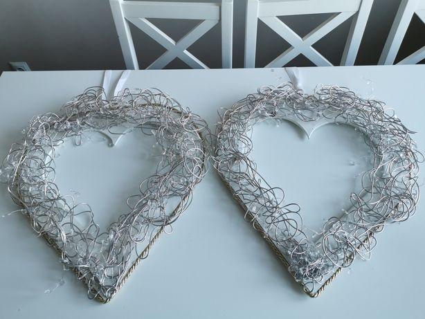 Serca biała sklejka srebrne dodatki średnica ok. 40 cm