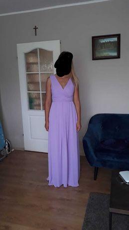 Śliczna suknia w kolorze liliowym