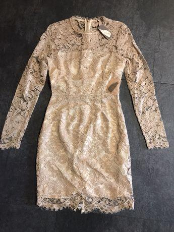 Forever 21 nowa sukienka koronkowa beż S