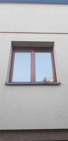 Okno drewniane 140 cm na 140 cm z demontażu teak