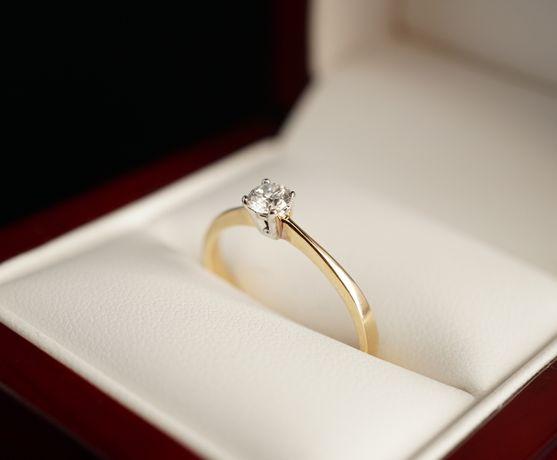 Złoto 585 - NOWY złoty pierścionek z Diamentem. CERTYFIKAT