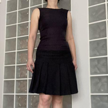 Sukienka Donna Karan New York roz 2 XS granatowa nylon i wełna kaszmir