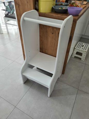Schodek lub stopień do kuchni dla dzieci / drewno 100%/ biały / okazja