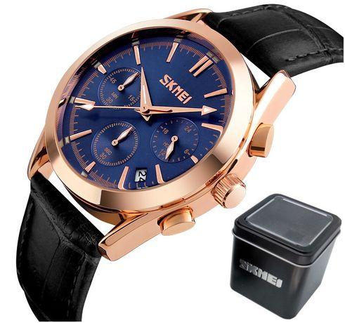 EKSKLUZYWNY zegarek męski SKMEI POZŁACANY skóra naturalna WYPRZEDAŻ !