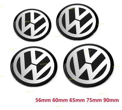 Эмблемы для колпачков дисков VW на алюминиевой клейкой основе 56мм