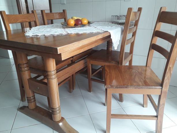 Mesa Cozinha + 4 Cadeiras Madeira Maciça