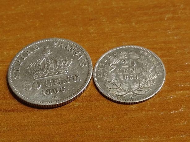 50 i 20 centów Napoleon lll 1866 i  1859 srebro cena za komplet