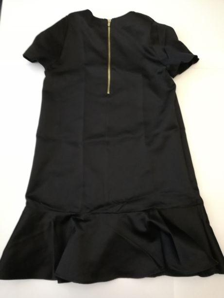 Czarna sukienka z falbaną rozm. S z H&M