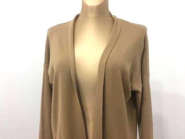 Sweter damski rozpinany elegancki kardigan beżowy milutki ciepły L/XL