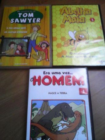 dvds primeiros numeros infantil, sawyer, maia e era uma vez