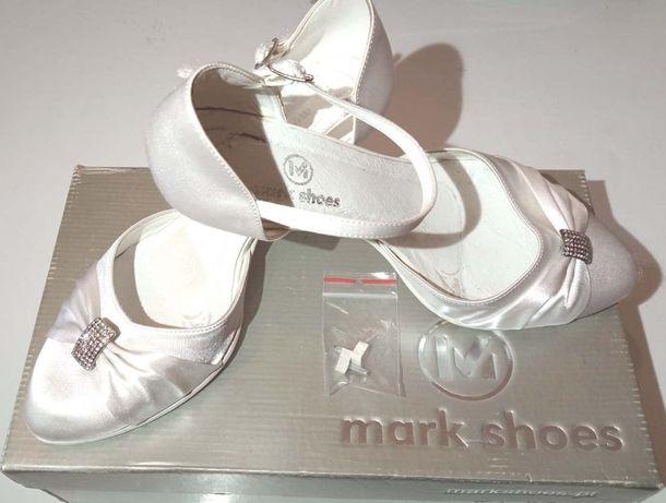 Buty Ślubne Białe Atłasowe 37