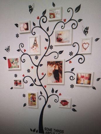 Naklejka na ścianę drzewo na ramki ze zdjęciami 120x100cm