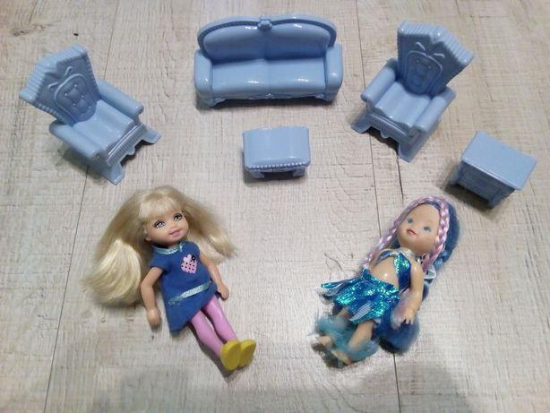 Lalki z akcesoriami, zestaw, kanapa fotele komoda stolik