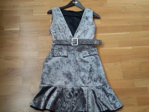 Платье велюр стального цвета