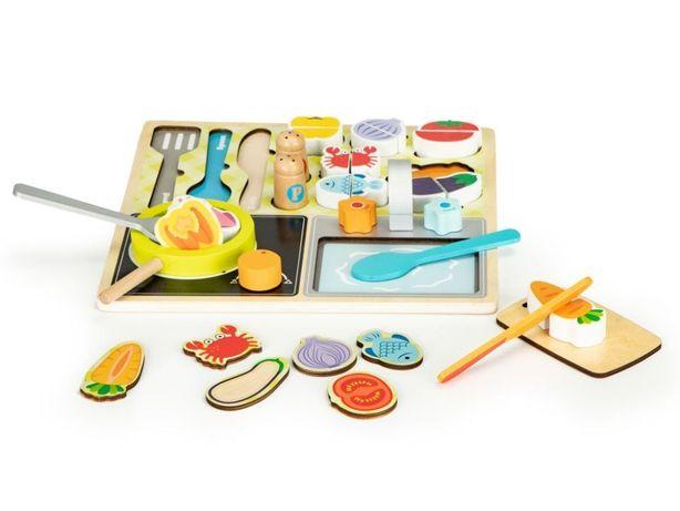 Drewniany zestaw kuchenny dla dzieci - akcesoria kuchenne dla dzieci