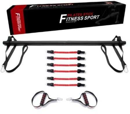 Kit barra portátil ajustável Pilates c/ elásticos de resistência