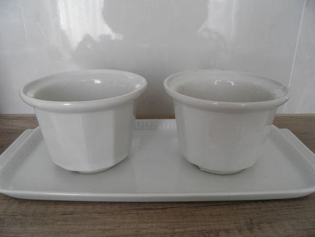 doniczka biała porcelana komplet
