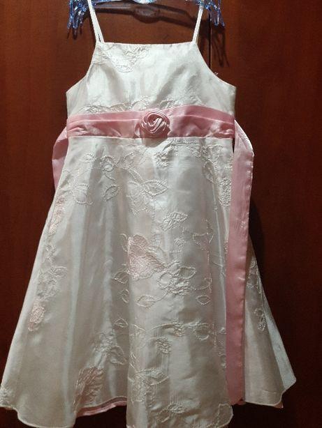 Biała sukieneczka wizytowa roz. 116/122 cm