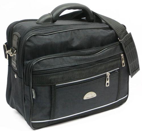 Мужской тканевый портфель Wallaby 2513 чёрный жатка