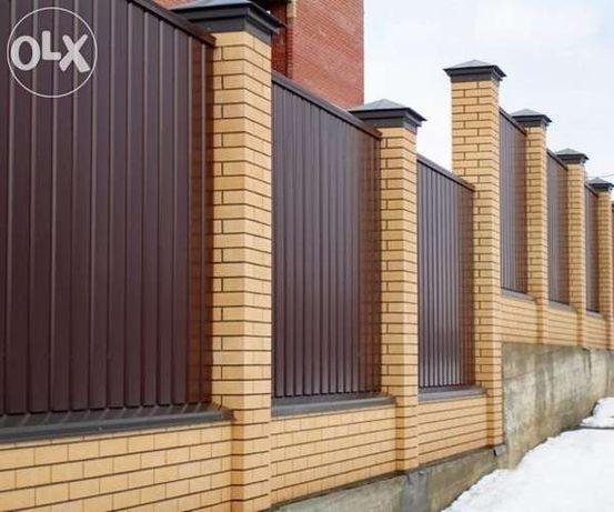 Забор из профнастила, профнастил для забора с монтажом недорого